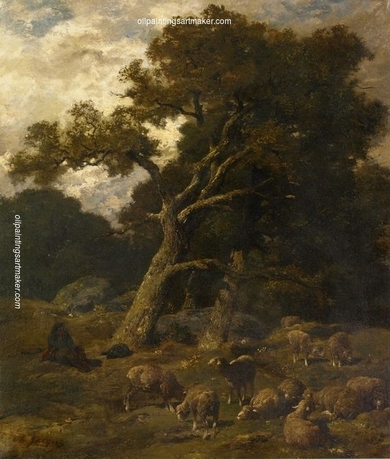 Charles-Émile Jacque Shepherd and his Sheep in Fontaineblelau Forest, painting Authorized official website