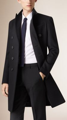 Burberry Black Wool Cashmere Peak Lapel Topcoat - A refined virgin wool and cashmere topcoat with distinctive peak lapels. Inspired by traditional tailoring, the double-breasted coat features sartorial pick-stitch detail. Discover the men's outerwear collection at Burberry.com