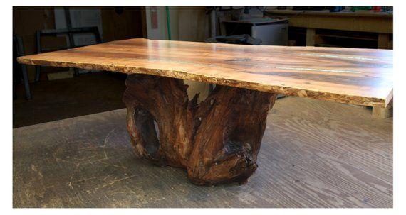 Dining Table With Turquoise Inlay Dining Table Live Edge Table