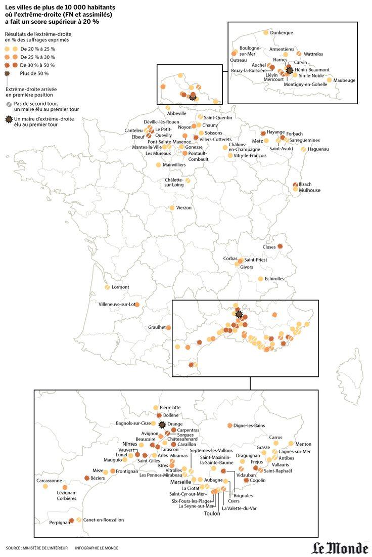 Le vote Front national, très présent dans le nord du pays et autour du bassin méditerranéen (premier tour des élections municipales  23/03/2014)