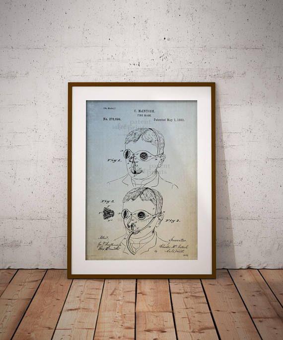 Fire Mask Patent Art Print Poster Fire Safety Mask Patent