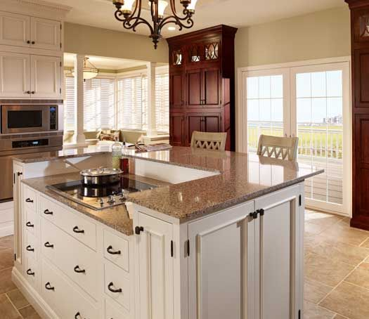 Perimeter StarMark Cabinetry Alexandria Inset Door Style In Maple Finished  In Macadamia. Island