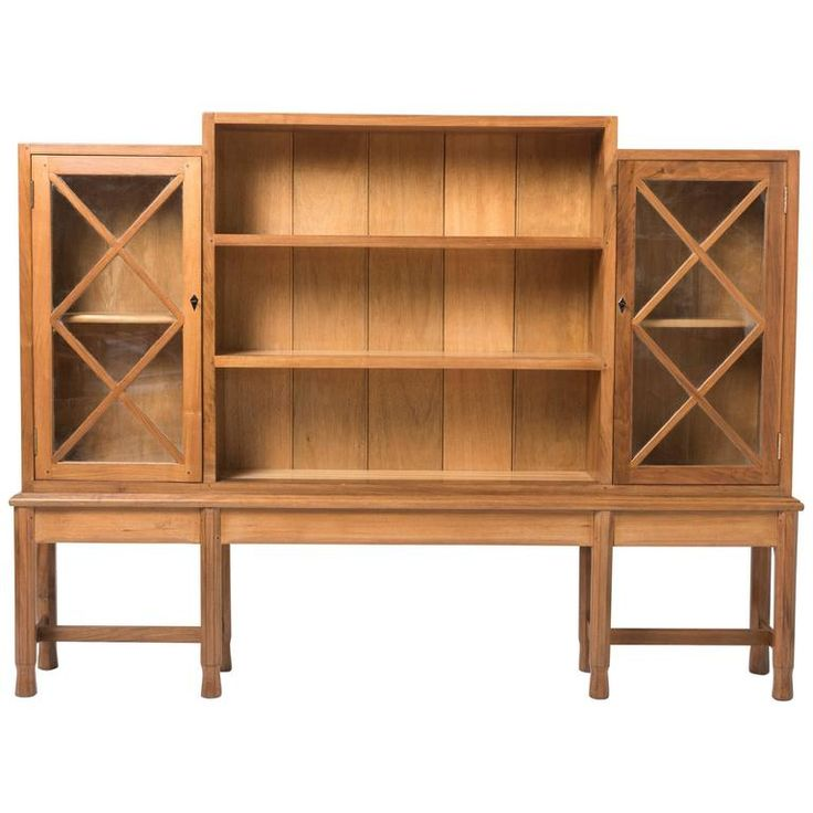 Rare Early English Walnut Bookcase by Gordon Russell | From a unique collection of antique and modern bookcases at https://www.1stdibs.com/furniture/storage-case-pieces/bookcases/