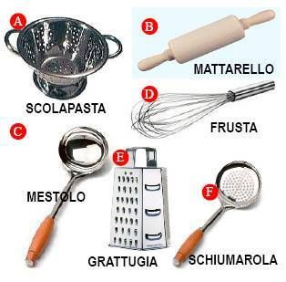 Attrezzi cucina parole italiane