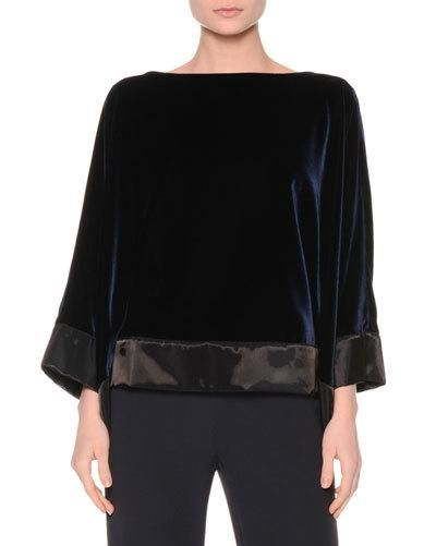 Bateau-Neck Velvet Top, Midnight                                                                                                                                                                                 More
