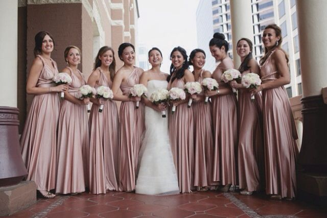 Old-rose bridesmaid dresses