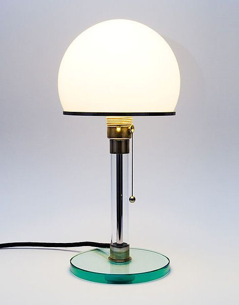 The first commercial product of Bauhaus alumni, Wilhelm Wagenfeld. His famous opal glass lamp, conceived ca.1923-24 is still made today