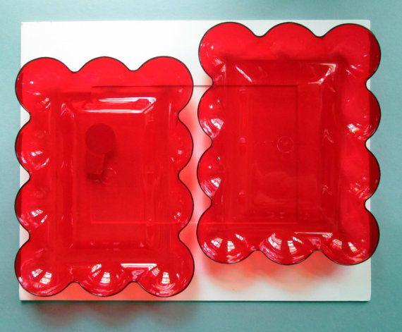 Decra Stone Red Midcentury Plastic Serving Trays by LyricalVintage