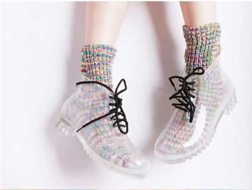 CLEAR, LACE-UP ANKLE BOOTS
