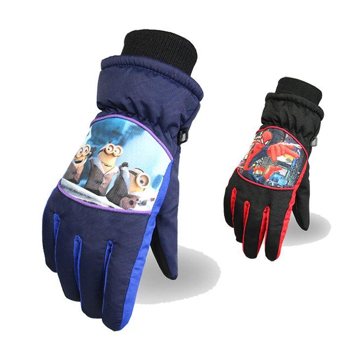 6-14 Years Old Children Winter Gloves For Kids Ski Gloves Warm Spiderman Minions Waterproof Thinsulate Gloves For Boys Girls