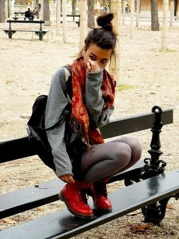 Dr. Martens and over-sized sweater.