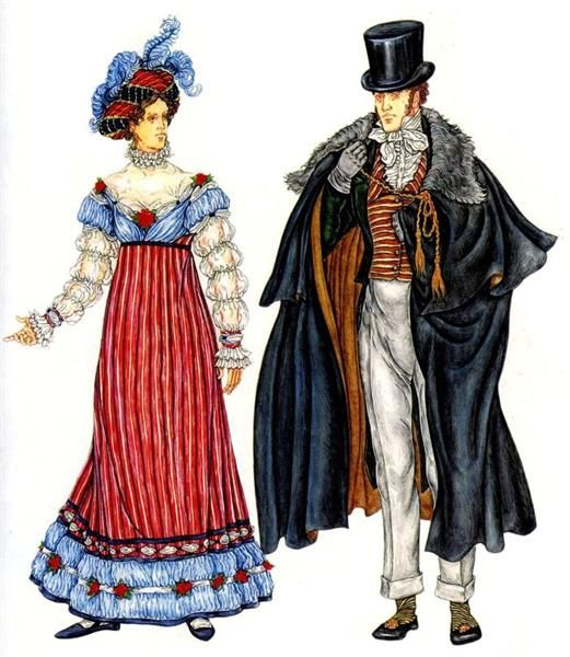 История костюма и прически романтизм