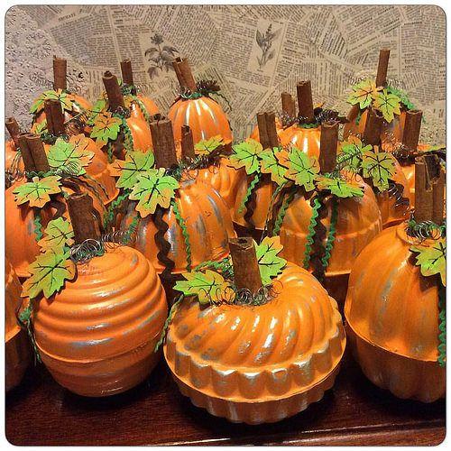old aluminum jello molds transformed into pumpkins                                                                                                                                                                                 More