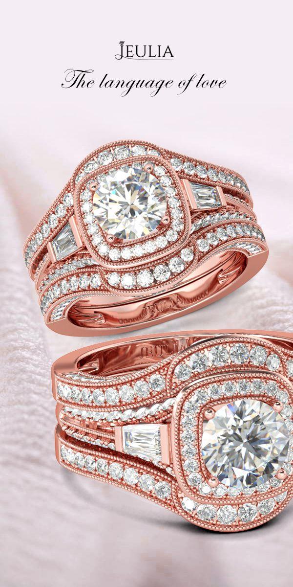 Jeulia 3PC Rose Gold Vintage Halo 1.26CT Round Cut Created White Sapphire Wedding Set #Jeulia