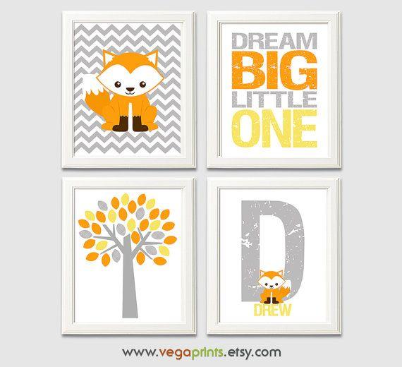 Grau, orange und gelb Fuchs Baumschule Kunstdruck - ungerahmte - Baby junge Wandkunst, Fox, Baum, Traum groß wenig ein, Drew, Buchstabe D