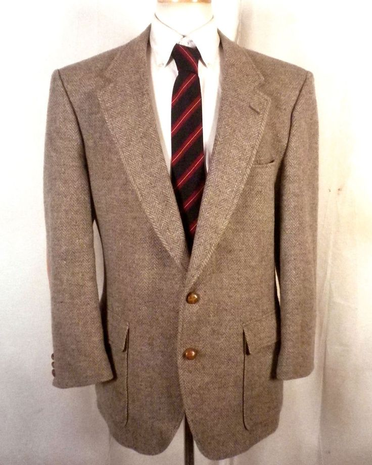 euc Allyn St George beige/gray 100% Wool Tweed Herringbone Blazer Sportcoat 44 S #AllynStGeorge #TwoButton