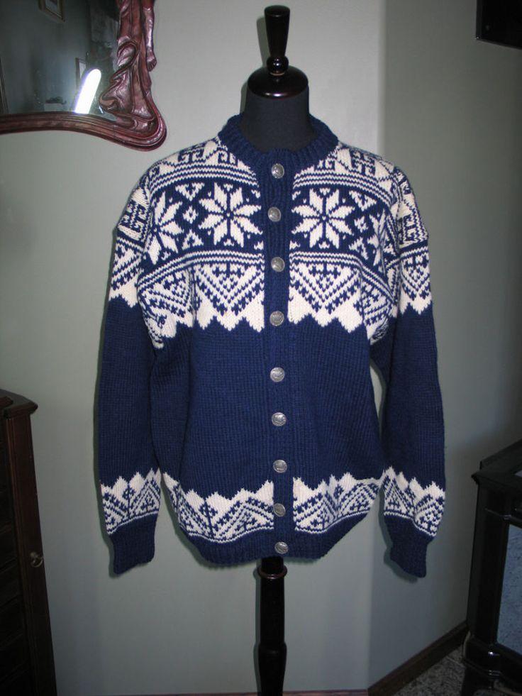VTG Lulle Otterstad Norway Wool Ski Cardigan Sweater Viking Ship Pewter Buttons