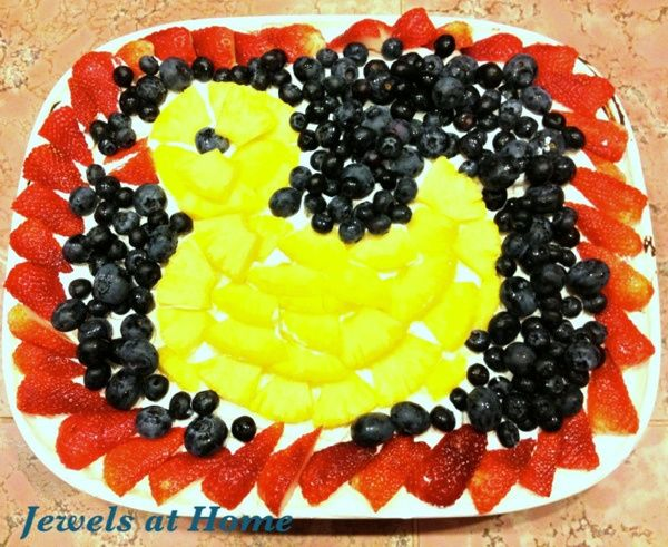 Creative Baby Shower Fruit Trays | for baby shower. Marble cake topped with whipped cream and fresh fruit ...