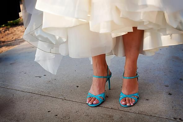 cute teal shoes to go with the wedding dress.