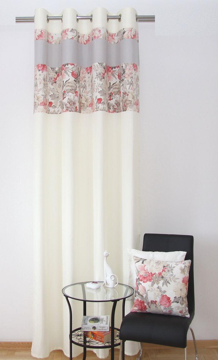 Kremowa zasłona na przelotkach w szaro malinowe róże