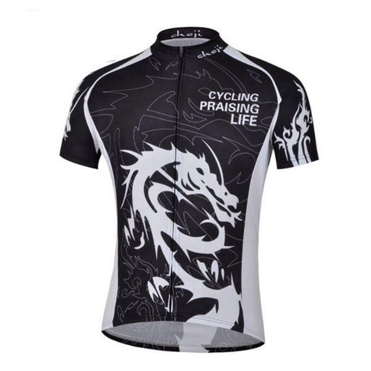CHEJI Dragon Men's Black Cycling Praising Life Short Sleeve Cycling Jersey [S-3XL]