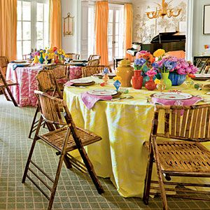 Bridal Luncheon Ideas: Showered in Color   Group for Impact   SouthernLiving.com: Party Time, Bridal Luncheon, Luncheon Ideas, Colorful Luncheon, Table Setting, Bridal Shower, Party Ideas