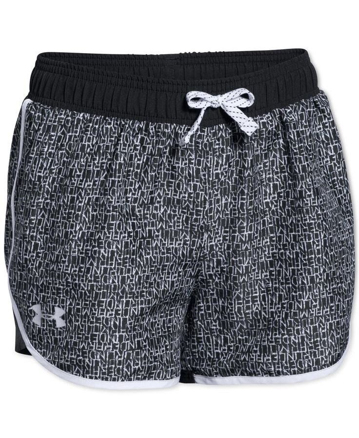 She'll pull on sporty style with these lightweight, breathable printed shorts from Under Armour, featuring a signature moisture transport system to help wick away sweat to keep her dry on her active d