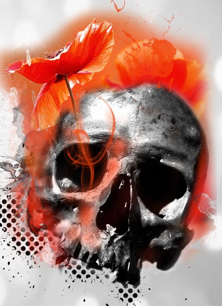 skull mit mohn - Skull Trash polka Tattoo Surf-ink-Tattoo.de