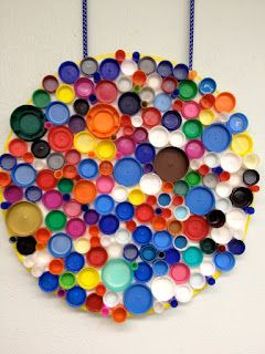 Classroom project: cool mosaic using plastic caps