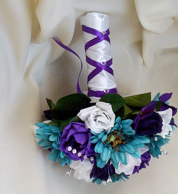 Have a teal ribbon to tie around base to tie flowers and dress together - Bridal accessories Teal Wedding Bouquet Purple by AmoreBride