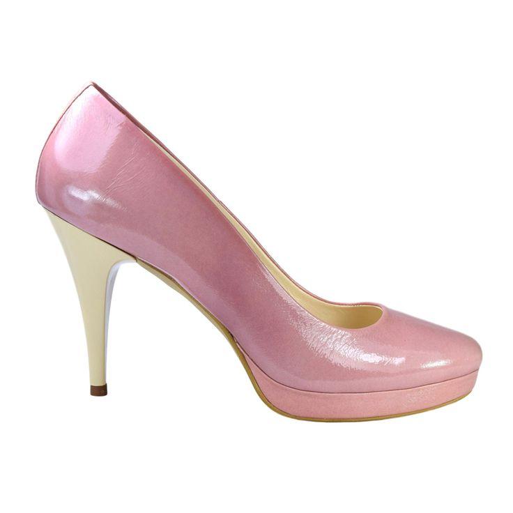Pantofi din piele roz lac
