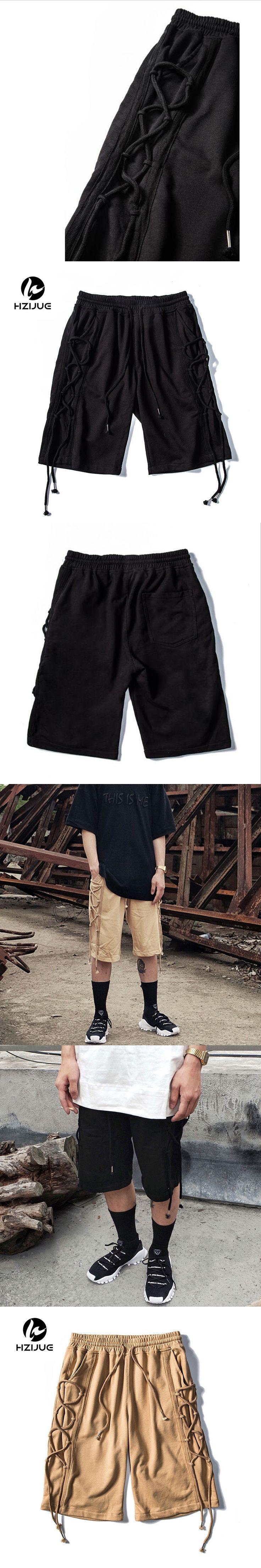 HZIJUE 2017 TOP Streetwear Summer KANYE WEST Ribbon MEN shorts HIP HOP Fashion Casual khaki black shorts justin bieber M-XL