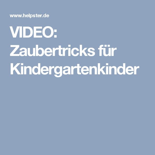 VIDEO: Zaubertricks für Kindergartenkinder