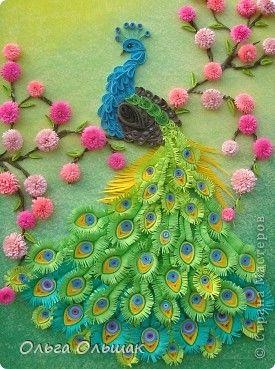 Картина панно рисунок Мастер-класс День рождения Квиллинг Царская птица + mini МК Бумага Пастель Бумажные полосы фото 2
