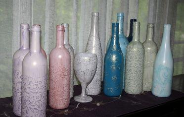 Simply Belle Blog | Decoupage Wine Bottles. Too cute.