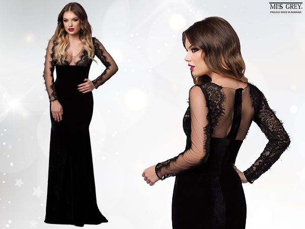 Still searching for the perfect dress for the New Years Eve party? Make sure you'll have a spectacular appearance wearing a long black dress embellished with fine lace and enter in the New Year glowing wearing the Evita dress!