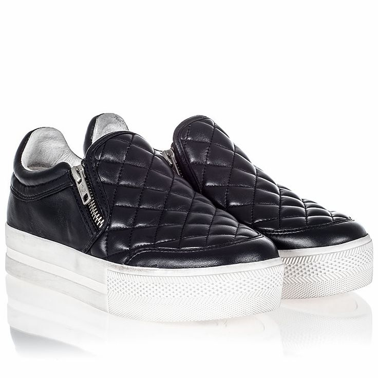 Ash Jodie Womens Sneaker Black Quilted Leather