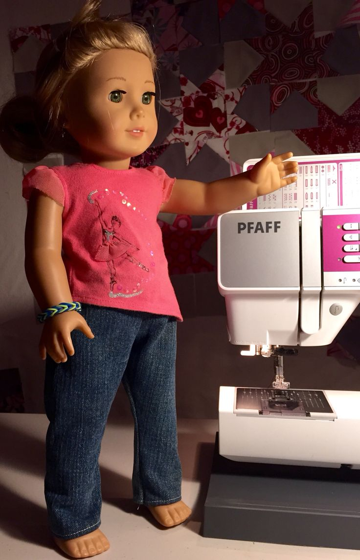 American girl doll sewing from the Eva Pants free pattern and tutorial by Imagine Gnats.