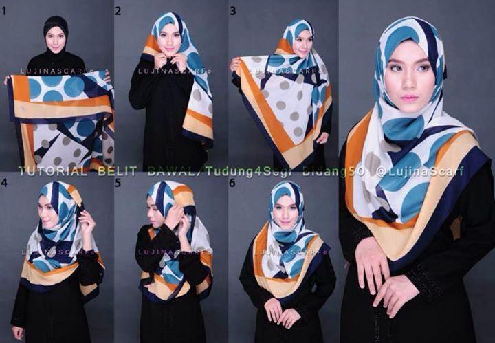 Tutorial syari dengan jilbab segi empat