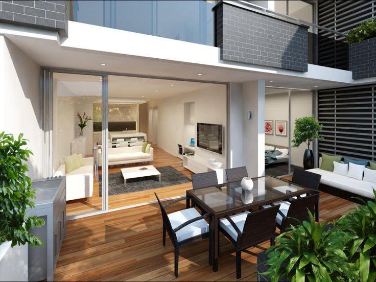 Indoor-outdoor outdoor living design with deck & decorative lighting using glass - Outdoor Living Photo 125355
