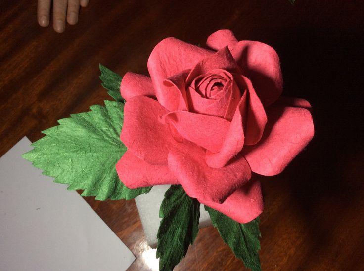 How to handmade paper flower rose tutorial 39 natural rose for Handmade paper flowers tutorial