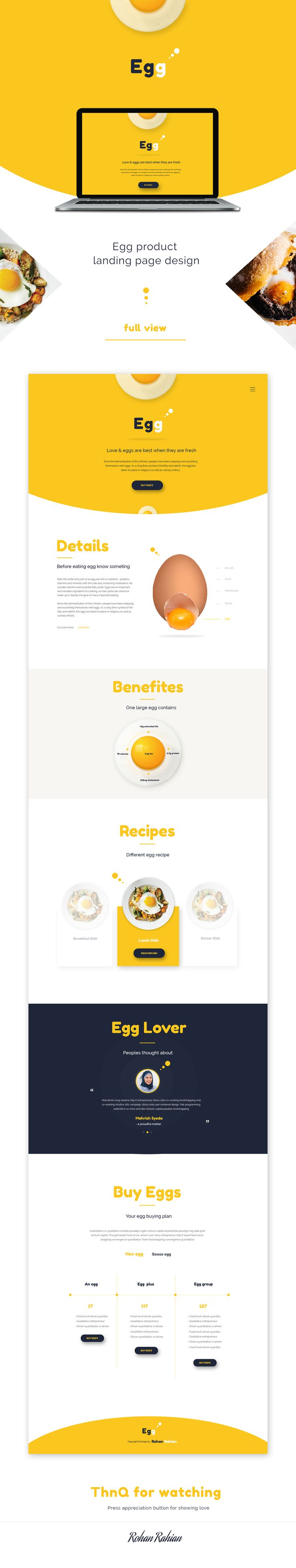egg - Product landing page on Behance