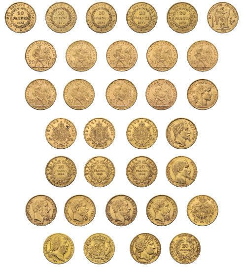 Inventory with 83 gold coins of 20 each Franc from France and Belgium. In total 481.4 g. F. Starting price 3000.-  Dealer Rapp Auctions  Auction Minimum Bid: 3000.00 SFr