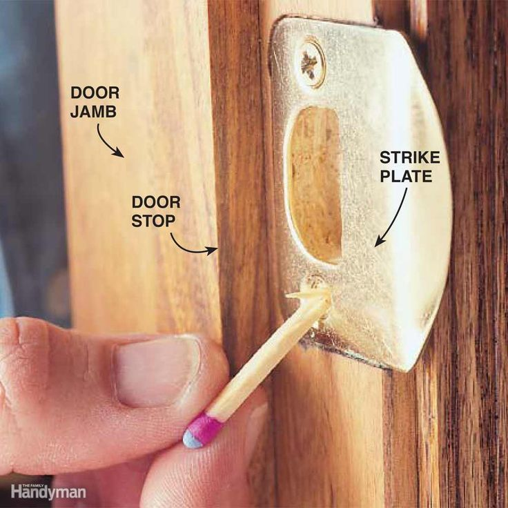 You go to tighten a screw in a door latch or hinge and it doesn't grab and draw tight. It spins. Or worse, wobbles in the screw hole. First try using a larger or longer screw. If the screw still doesn't get a grip, or if the screwhead size is too large for either the hinge or the strike plate, try the solution my grandfather taught me. Fill the hole with steel wool, a short length of plumbing solder, or a wooden match (noncombustible end first; see photo). Then reinstall the screw. Don't use…