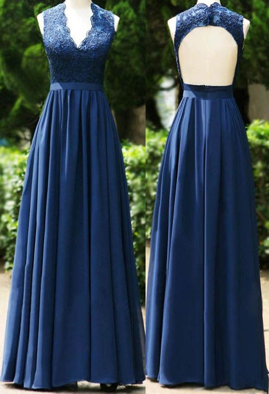 A Line V Neck Open Back Dark Blue Bridesmaid Dress With Lace
