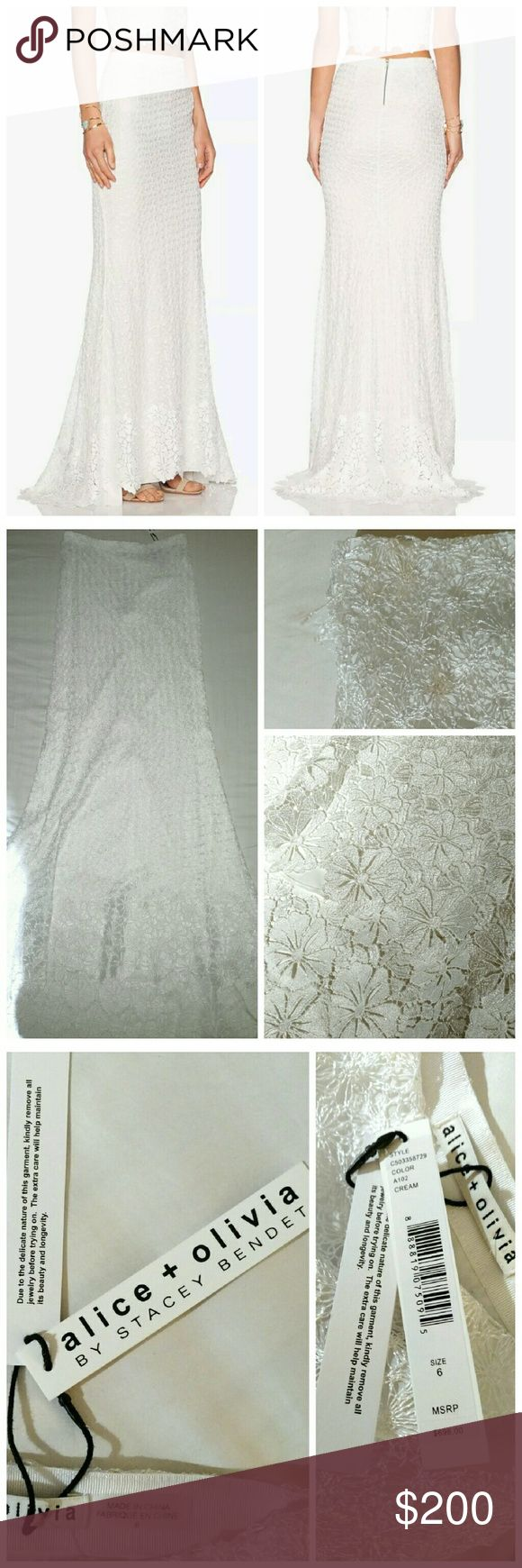 NEW Alice + Olivia Lace Maxi Dress White Size 6 Draped in Guipure lace with trumpet style train makes a gorgeous addition to your wardrobe!  Perfect for a fancy night out or for a bridal occasion, fully lined.  *Minor loose thread by side waist, see 2nd photo.  A few minor thread pulls due to the delicate nature of fabric, nothing major.* It shows color is cream but it is white in my opinion.  Even more beautiful in person!  😍  No ❌ trades Alice + Olivia Skirts Maxi