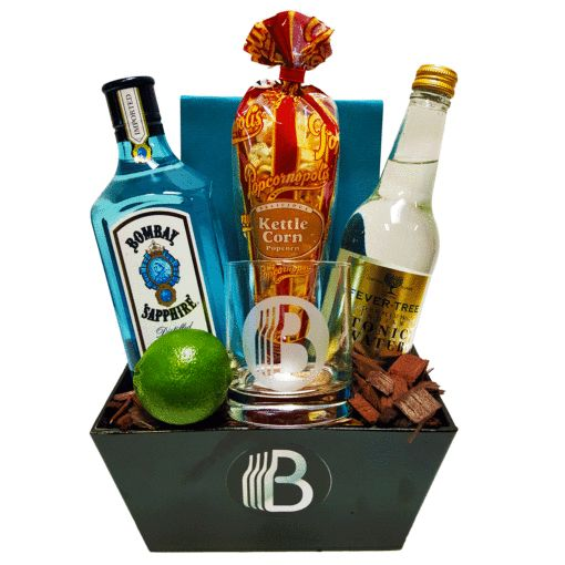 Classic Gin and Tonic $88 1 – BroBasket 11oz tumbler – the only way to drink a gin & tonic! 1 – 16oz bottle of Fever-Tree Tonic water – some of the best (and tastiest) tonic around 1 – Popcornopolis gourmet popcorn – cant drink on an empty stomach 1 – Fresh lime – a must have garnish for your gin and tonic. 1 – BroBasket Reusable Black Tin – you could even drink out of it, we won't judge The Booze 1 – Bombay Sapphire Extra Dry (750ml) – the good stuff!