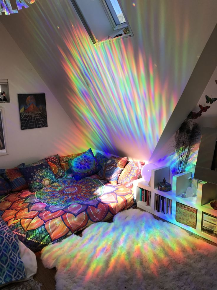 "nice-bedrooms: ""dharmawhimsy: ""my rainbow sanctuary This is how: Rainbow Holographic Decorative Window Film Duvet Cover: Society6 Lotus Rainbow Mandala by Elspeth McClean "" This is so cool omg """