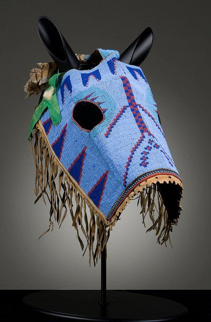 Nakoda (Alberta), Horse Mask, beads/leather, c. 1890. I Love the Way the True Americans Decorated Their Horses, the Horse was Part  of the warrior.