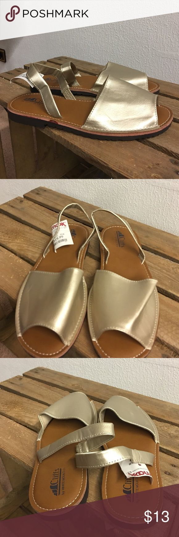 Open toe sandals Cliffs by White Mountain open ties sling back sandals, gold NWT cliffs Shoes Sandals